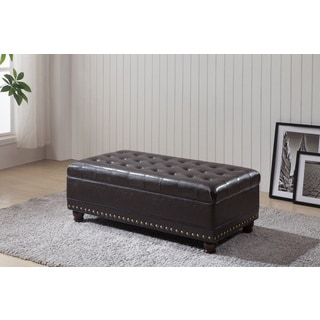 Castillian Classic Tufted Storage Bench Nailhead Trim Ottoman