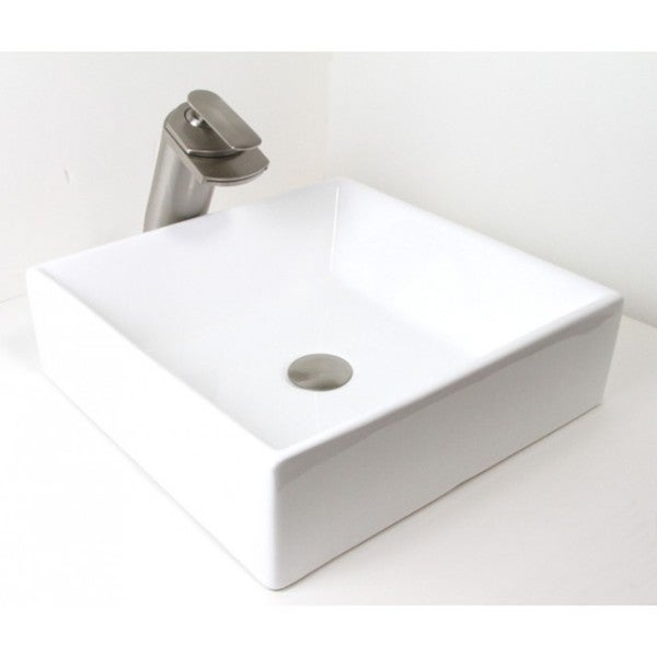 ... Style Rectangular Shape Porcelain Ceramic Bathroom Vessel Sink image