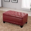 Castillian Classic Burgundy Red Storage Bench Ottoman