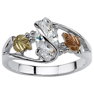 Ultimate Gold over Silver Marquise-cut Cubic Zirconia Vine Ring