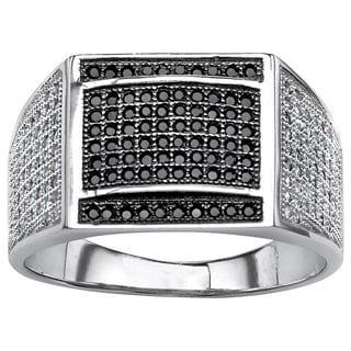 PalmBeach Platinum Over Sterling Silver Men's Black/ White Pave Cubic Zirconia Ring