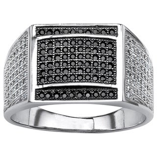 Neno Buscotti Platinum Over Sterling Silver Men's Black/ White Pave Cubic Zirconia Ring