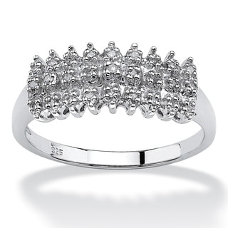 Isabella Collection Platinum Over Silver 1/8ct TDW Diamond Peak Ring (H-I, I2-I3)