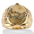 PalmBeach 14-karat Yellow Gold Overlay Men's Jasper Gemstone Ring