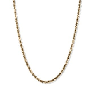 Toscana Collection 18k Yellow Gold Over Silver Men's Rope Chain Necklace