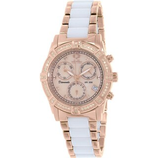 Swiss Precimax Women's Desire Elite Ceramic Diamond SP13304 White Ceramic Mother-Of-Pearl Dial Swiss Chronograph Watch