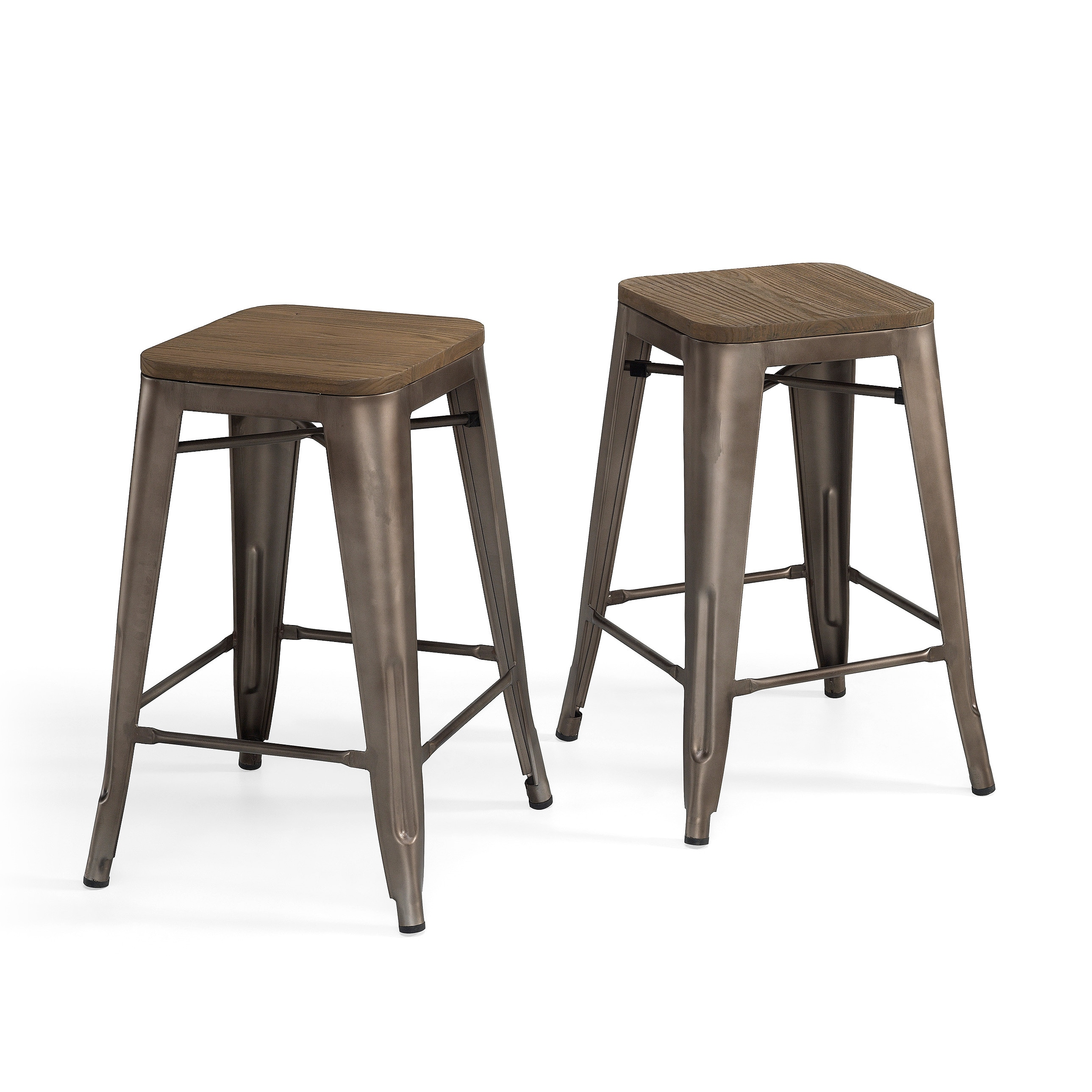 Superb img of Tabouret Vintage Wood Seat Counter Stools (Set of 2) Overstock  with #705E4E color and 2577x2577 pixels