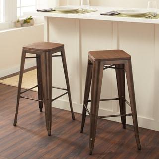 Tabouret Vintage Wood Seat Bar Stool (Set of 2)