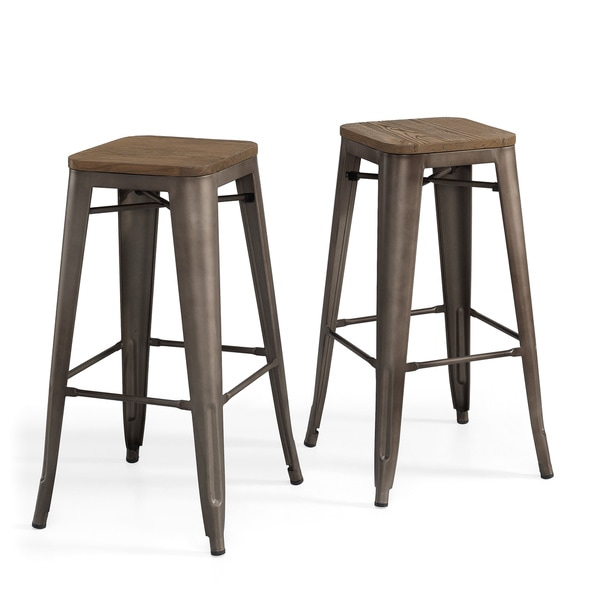 Tabouret vintage wood seat bar stool set of 2 overstock shopping great - Tabouret bar vintage ...