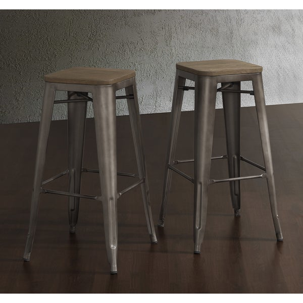 Bar height stool set vintage metal wood seat top industrial zuo counter stool - Tabouret bar vintage ...