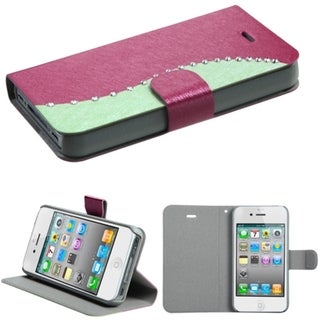 BasAcc Diamonds Flap Book-style Leather Case Cover for Apple iPhone 4/4s