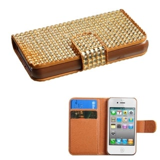 INSTEN Diamonds Card Slots Book-style Leather Phone Case Cover for Apple iPhone 4/ 4s