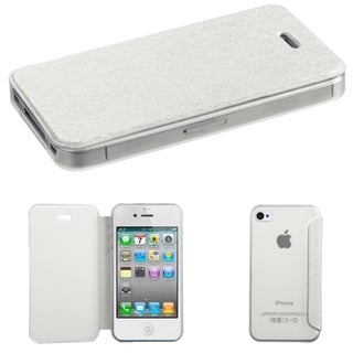 BasAcc With Leather Flap Cover Clear Soft Gel Case for Apple iPhone 4/4s