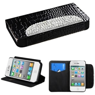 BasAcc Diamonds Card Slots Book-style Leather Case Cover for Apple iPhone 4/4s