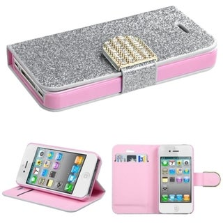 BasAcc Diamonds Card Slots Glitter Leather Case Cover for Apple iPhone 4/4s
