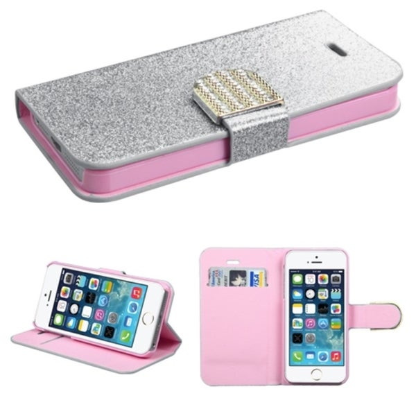 INSTEN Diamonds Card Slots Book-style Leather Phone Case Cover for Apple iPhone 5/ 5s