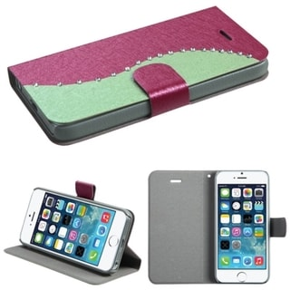 BasAcc Diamonds Flap Book-style Leather Case Cover for Apple iPhone 5/5s