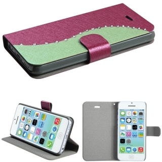 BasAcc Diamonds Flap Book-style Leather Case Cover for Apple iPhone 5C
