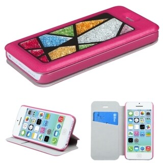 INSTEN Colorful Beads Inside Card Slot Leather Phone Case CoverApple iPhone 5C