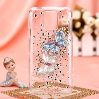 BasAcc 3D Diamante Crystal Bling Beads Case Cover for Samsung Galaxy S5