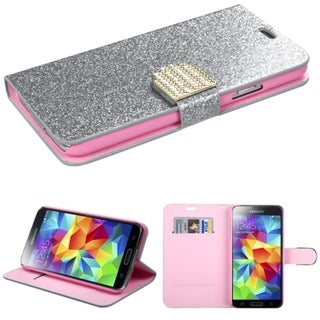 INSTEN Diamonds Card Slots Glitter Leather Phone Case Cover for Samsung Galaxy S5