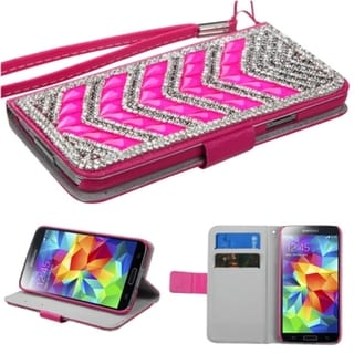 INSTEN Diamonds Card Slots Book-style Leather Phone Case Cover for Samsung Galaxy S5