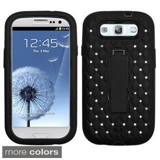 BasAcc Diamonds Stand Dual Layer Hybrid Case Cover for Samsung Galaxy S3