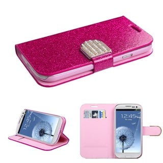 INSTEN Diamonds Card Slots Glitter Leather Phone Case Cover for Samsung Galaxy S3