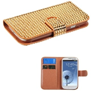 BasAcc Diamonds Card Slots Book-style Leather Case Cover for Samsung Galaxy S3