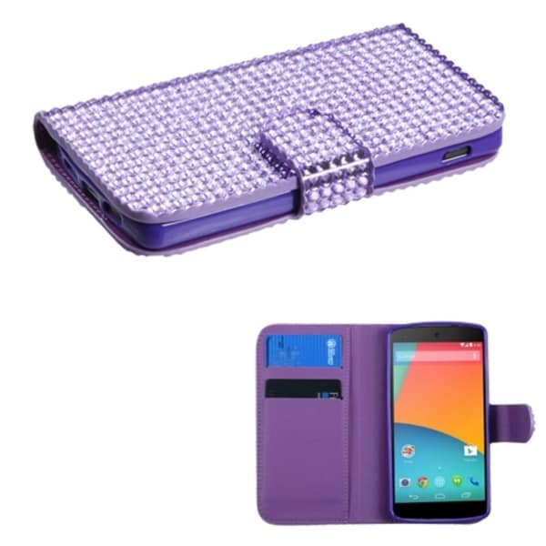 BasAcc Diamonds Card Slots Book-style Leather Case Cover for LG Nexus 5 D820