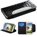 BasAcc Diamonds Card Slots Book-style Leather Case Cover for Samsung Galaxy S4