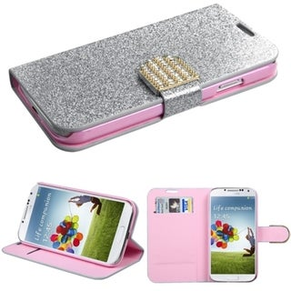 BasAcc Diamonds Card Slots Glitter Leather Case Cover for Samsung Galaxy S4
