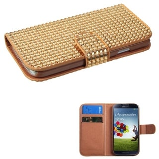 INSTEN Diamonds Card Slots Book-style Leather Phone Case Cover for Samsung Galaxy S4
