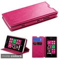 INSTEN Card Slots Colorful Book-style Leather Phone Case Cover for Nokia Lumia 521