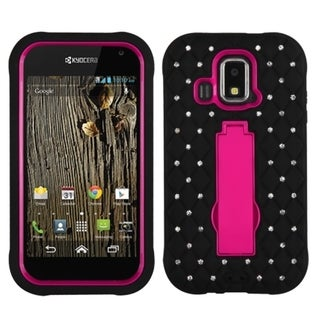 BasAcc Diamonds Stand Dual Layer Hybrid Case Cover for Kyocera C6721 Hydro XTRM, C6522 Hydro XTRM