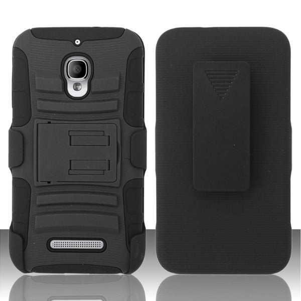 INSTEN Holster Clip Dual Layer Hybrid Phone Case Cover for Alcatel One Touch Fierce