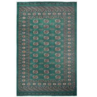 Herat Oriental Pakistani Hand-knotted Tribal Bokhara Green/ Tan Wool Rug (4'2 x 6'5)
