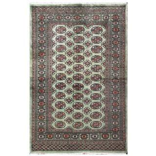 Herat Oriental Pakistani Hand-knotted Tribal Bokhara Green/ Black Wool Rug (4' x 6'2)