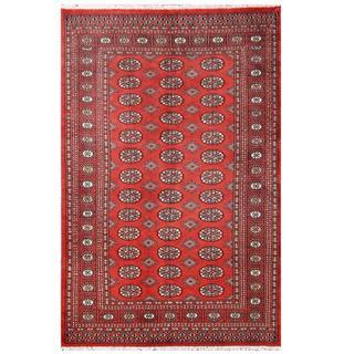 Herat Oriental Pakistani Hand-knotted Tribal Bokhara Red/ Black Wool Rug (4'2 x 6'4)