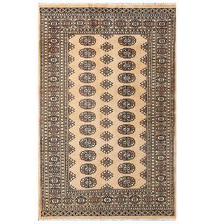 Herat Oriental Pakistani Hand-knotted Tribal Bokhara Beige/ Black Wool Rug (4'1 x 6'3)