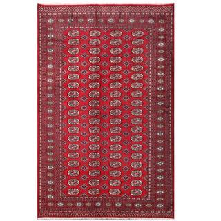 Herat Oriental Pakistani Hand-knotted Tribal Bokhara Red/ Black Wool Rug (5'2 x 7'11)