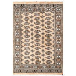 Herat Oriental Pakistani Hand-knotted Tribal Bokhara Beige/ Black Wool Rug (4'2 x 6'1)