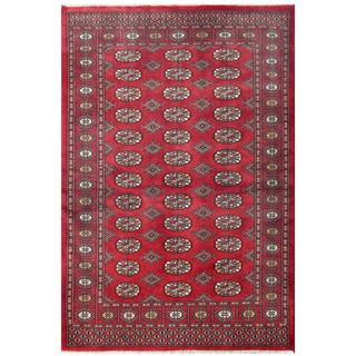 Herat Oriental Pakistani Hand-knotted Tribal Bokhara Red/ Black Wool Rug (4' x 5'11)