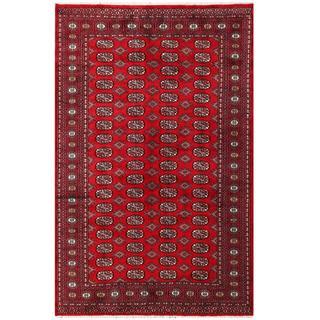Herat Oriental Pakistani Hand-knotted Tribal Bokhara Red/ Black Wool Rug (5'2 x 8')