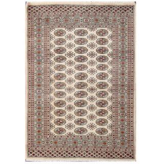 Herat Oriental Pakistani Hand-knotted Tribal Bokhara Beige/ Tan Wool Rug (4'2 x 5'10)