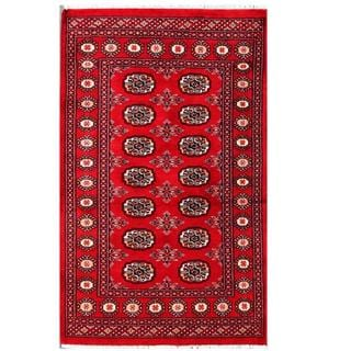 Herat Oriental Pakistani Hand-knotted Tribal Bokhara Red/ Black Wool Rug (3' x 4'11)
