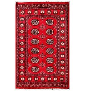 Herat Oriental Pakistani Hand-knotted Tribal Bokhara Red/ Black Wool Rug (3'1 x 4'11)