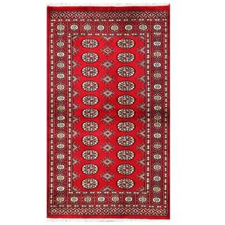 Herat Oriental Pakistani Hand-knotted Tribal Bokhara Red/ Black Wool Rug (3' x 5'2)