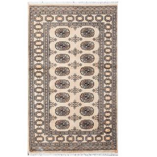 Herat Oriental Pakistani Hand-knotted Tribal Bokhara Beige/ Black Wool Rug (3'2 x 5'3)