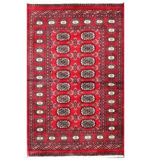 Herat Oriental Pakistani Hand-knotted Tribal Bokhara Red/ Black Wool Rug (3'1 x 4'10)